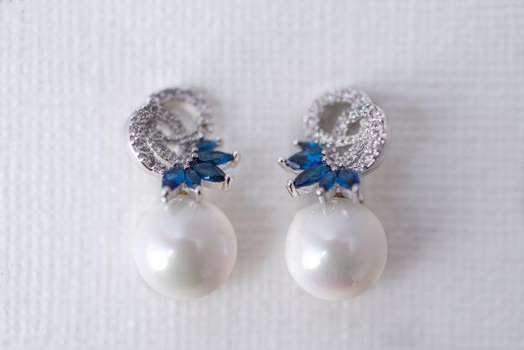 Bridesmaid Earrings Royal Blue #etsy shop: Pearl & Royal Blue Accent Cubic Zirconia Earrings, CZ Bridal Earrings, Wedding Jewellery, Bridesmaid Jewelry, Pearl Earrings, Crystal http://etsy.me/2FiJVyU #jewelry #bridesmaidearrings #bridalearrings #pearlearrings
