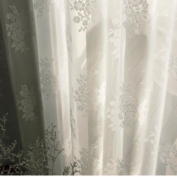 Shabby Chic Fairy Tale Vintage Rose Pattern White Lace Sheer Etsy Shabby Chic Vintage Roses Lace Curtains Kitchen #vintage #living #room #curtains