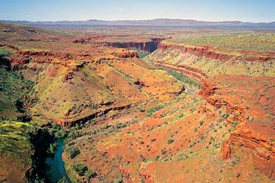 Aerial view along Wittenoom Gorge towards the heart of the Hammersley Range, W.A.