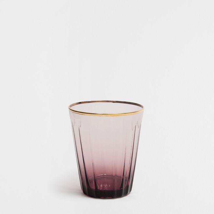 BICCHIERE COLORATO BORDO DORATO - Bicchieri - Cristalleria - Sala da Pranzo | Zara Home Italia