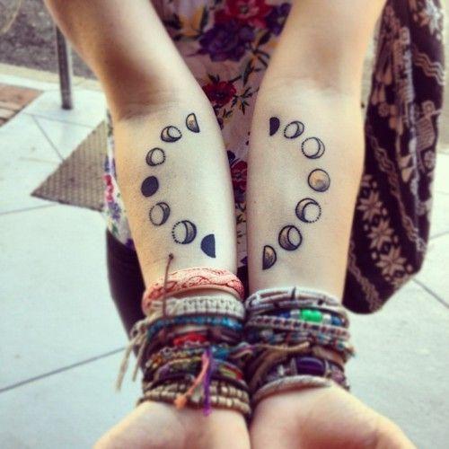 Tattoo, moon, hands