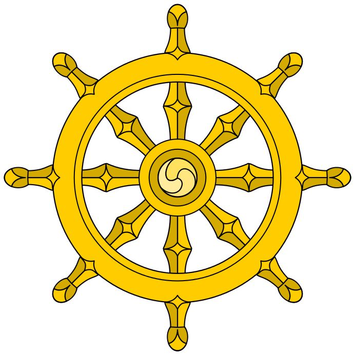 ships wheel with eight spokes represents the Noble Eightfold Path