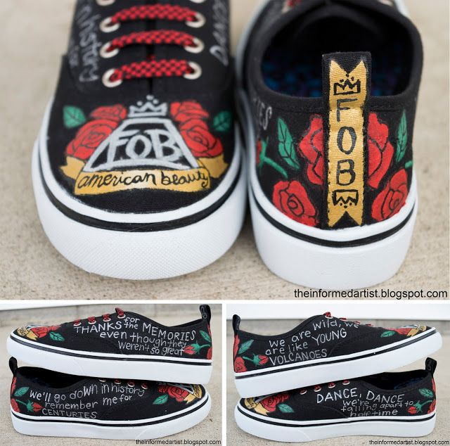 Hand-painted Fall Out Boy shoes