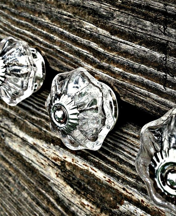 Scalloped Cracked Glass Drawer Knobs Rustic Knobs Glass Drawer Knobs  Farmhouse Dresser Knobs Silver Decorative Knobs Unique Cabinet Knobs