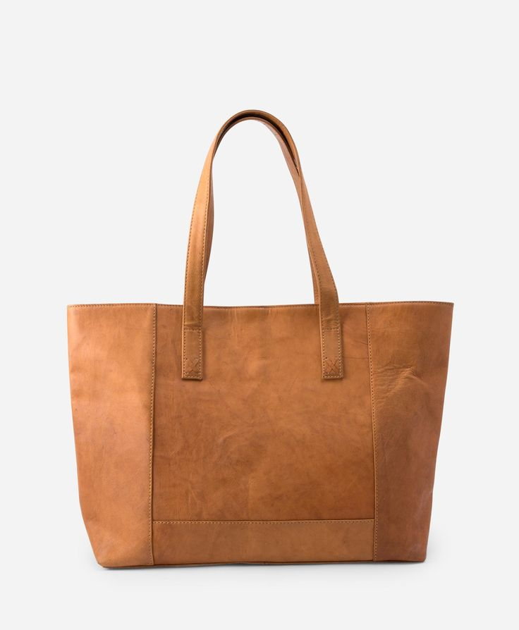 This is the season's must-have bag. Luscious leather is stitched into an effortlessly modern sillhouette and finished with an eye-catching cotton print lining. | Modern Leather Tote