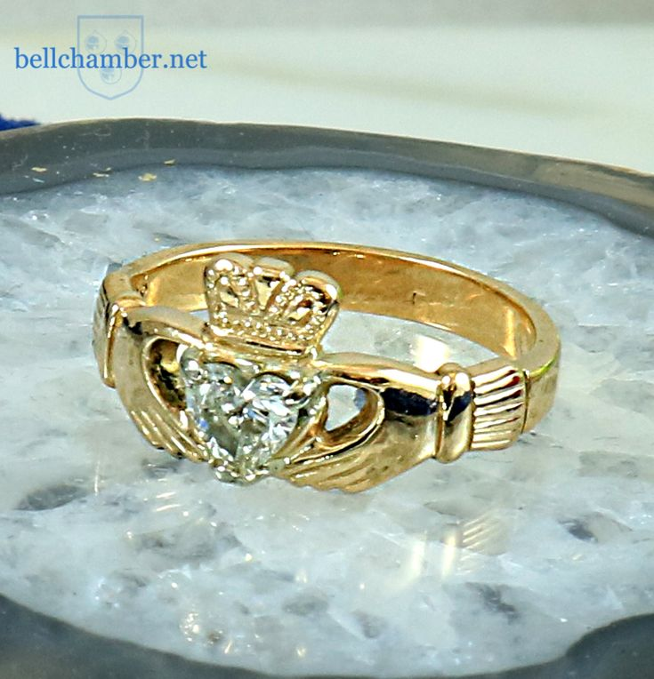 Gold Claddagh with Heart Shaped 1/4 ct diamond.