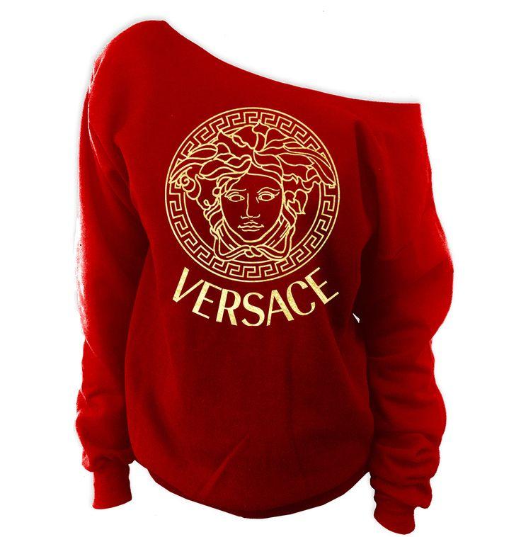 Versace Medusa Off-The-Shoulder Oversized Wideneck Slouchy Sweatshirt