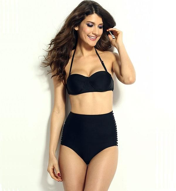 Vilanya Black Women Cut Out High-waisted Bikinis Set