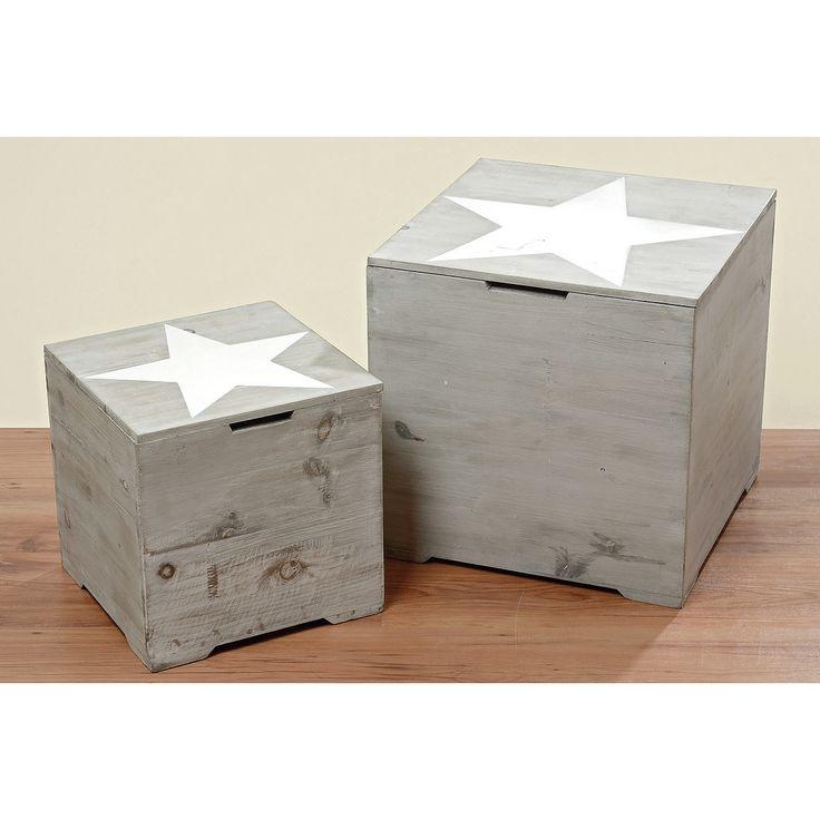 Star 2 Piece Wooden Trunk Set