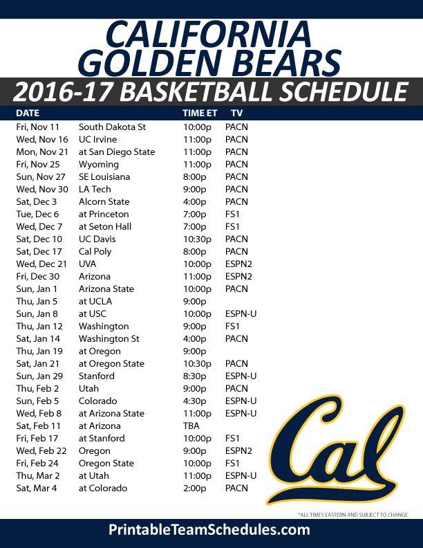 CAL Golden Bears Basketball Schedule 2016-17.  Print Here - http://printableteamschedules.com/NCAA/californiagoldenbearsbasketball.php