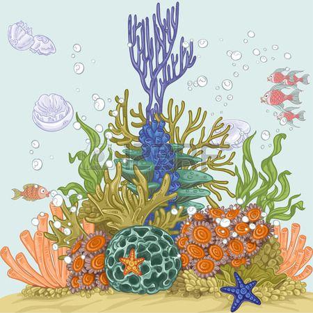 Ilustración del filón coralino con las anémonas de mar y algas