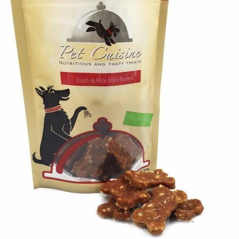 Pet Cuisine Premium Dog Treats Training Snacks Dog Food Puppy Chewy, Duck & Rice Mini Bones ,100g