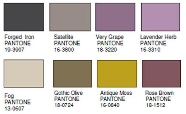 new color forcast for 2014...shows many combinations...I love this one: purples, browns and greens