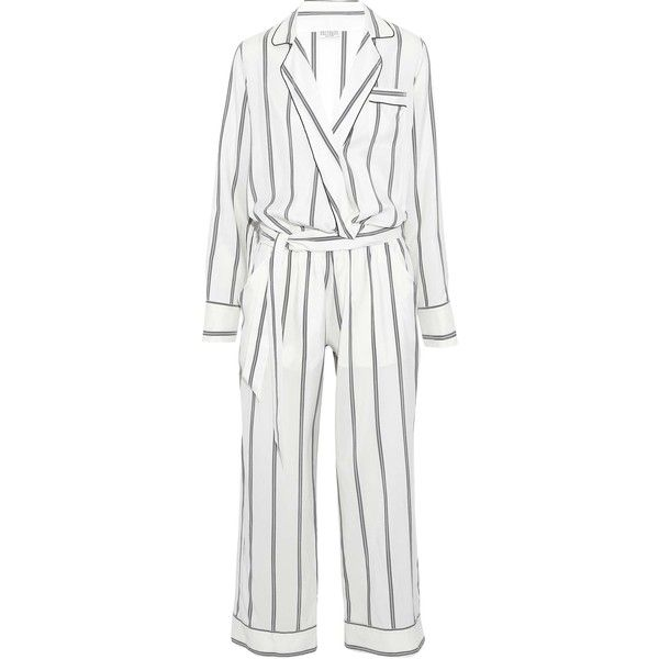 BRUNELLO CUCINELLI   Pinstriped silk-twill jumpsuit ($995) ❤ liked on Polyvore featuring jumpsuits, ivory, white jumpsuit, striped jumpsuit, white jump suit, jump suit and beaded jumpsuit