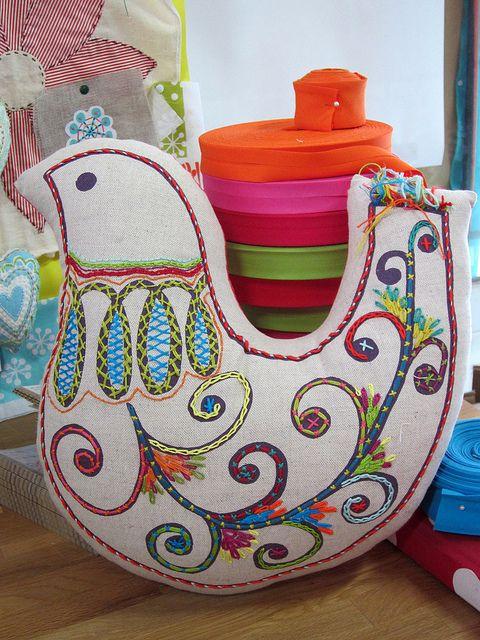 embroidered folk bird