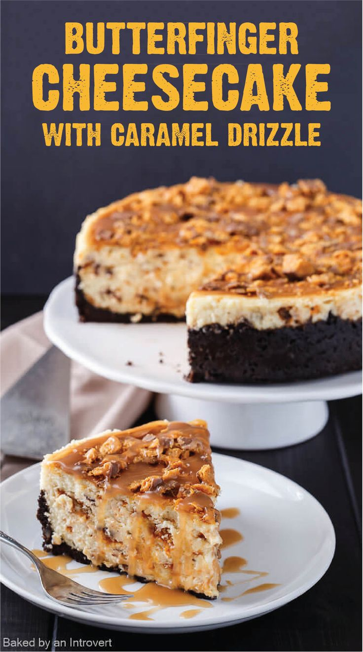Serve this decadent dessert for Butterfinger Cheesecake with Caramel Drizzle at your next dinner party. This recipe includes a chocolate cookie crust and the crispety, crunchety, peanut-buttery flavors of BUTTERFINGER® candy bars. Click here to start making this delicious sweet treat!