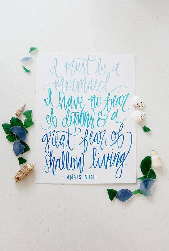 I Must Be A Mermaid - Hand Lettered Calligraphy Print - Ombre Blues - 8 x 10
