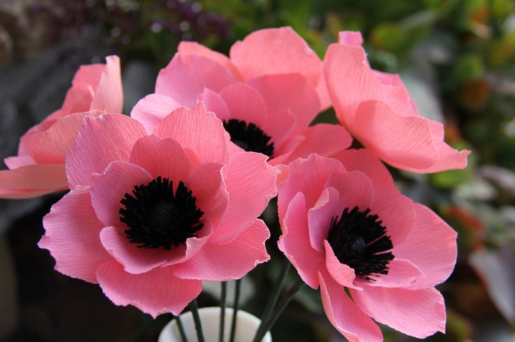 Crepe Paper Flowers --- Pink  Anemone Flowers by FlowerBazaar on Etsy https://www.etsy.com/listing/94641035/crepe-paper-flowers-pink-anemone-flowers