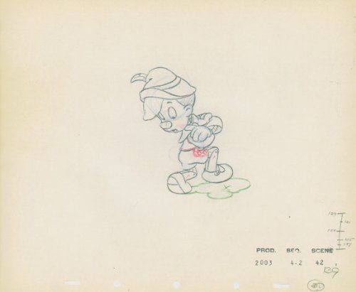 Original Disney Sketch Pinocchio Another Disney Sketch. Its pretty amazing just how many drawings you need to make a feature length animated film. How many thousands of production frames existed alongside this one?