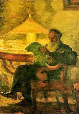 """L.N. Tolstoy reading by a lamp"". Leonid Pasternak (1862-1945):"