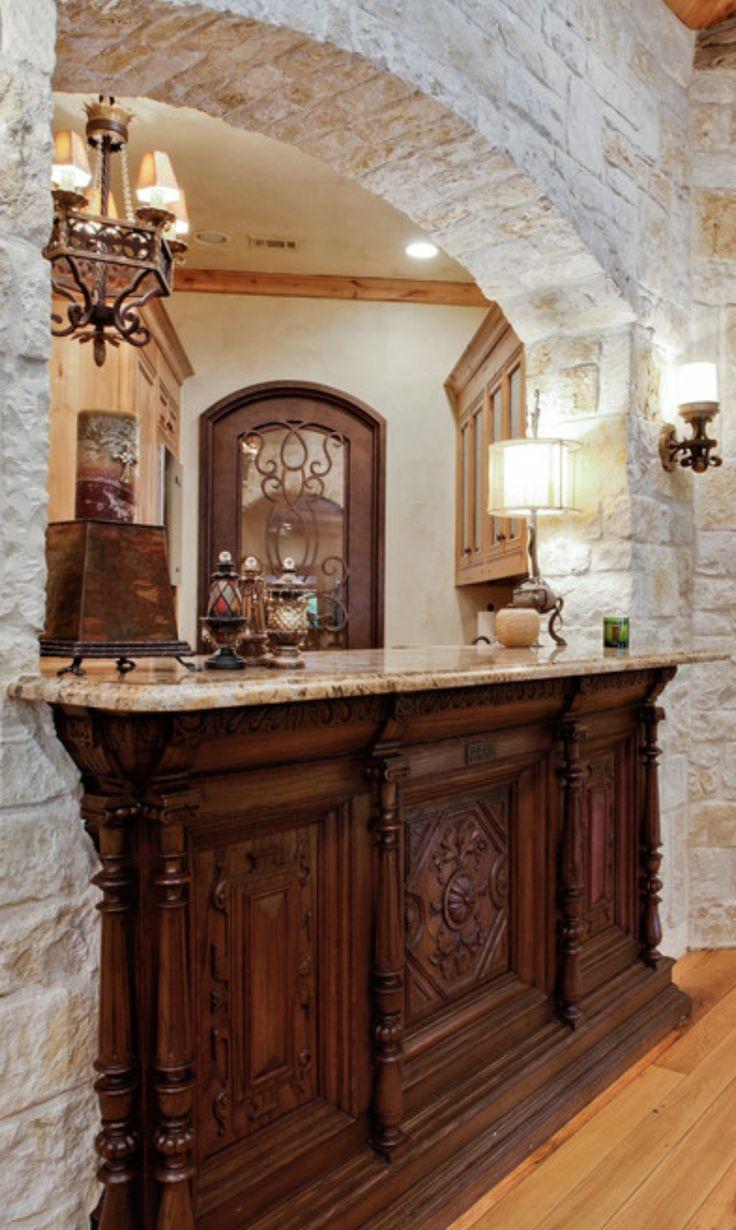 Built in bar old world mediterranean italian spanish - Built in home bar ...