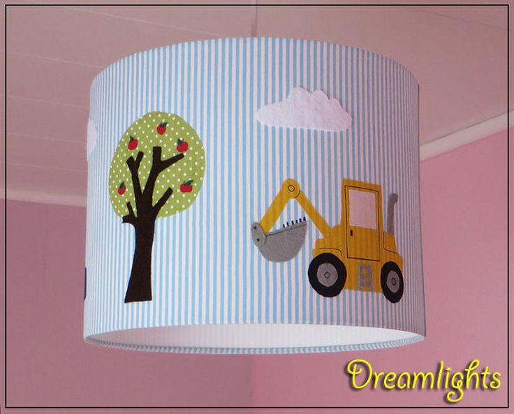 Lampenschirme - Lampenschirm ☼Kleiner gelber Bagger und Autos ☼ - ein Designerstück von Dreamlights bei DaWanda