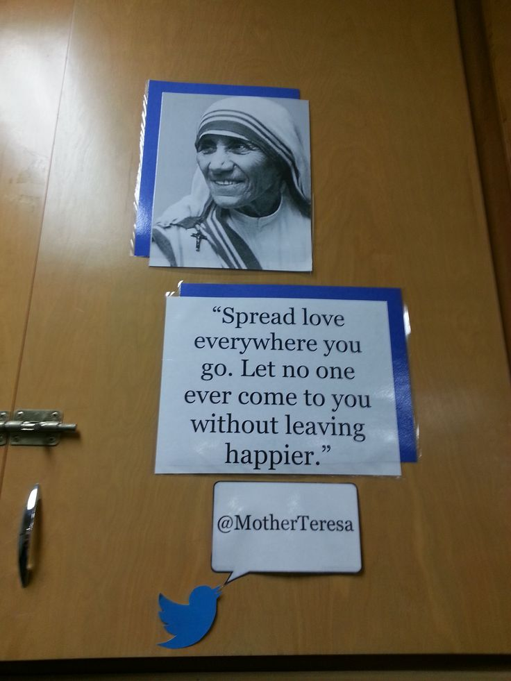 Middle School Classroom Bulletin Board OR Locker Decoration: Inspirational People with Quote Mother Teresa (Technology Twitter Theme)