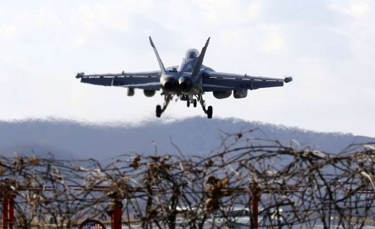 US - South Korea's largest air force drill  -  December 4, 2017.  A U.S. Air Force EA-18G Growler fighter jet prepares to land at the Osan U.S. Air Base in Pyeongtaek, South Korea on Dec. 4.