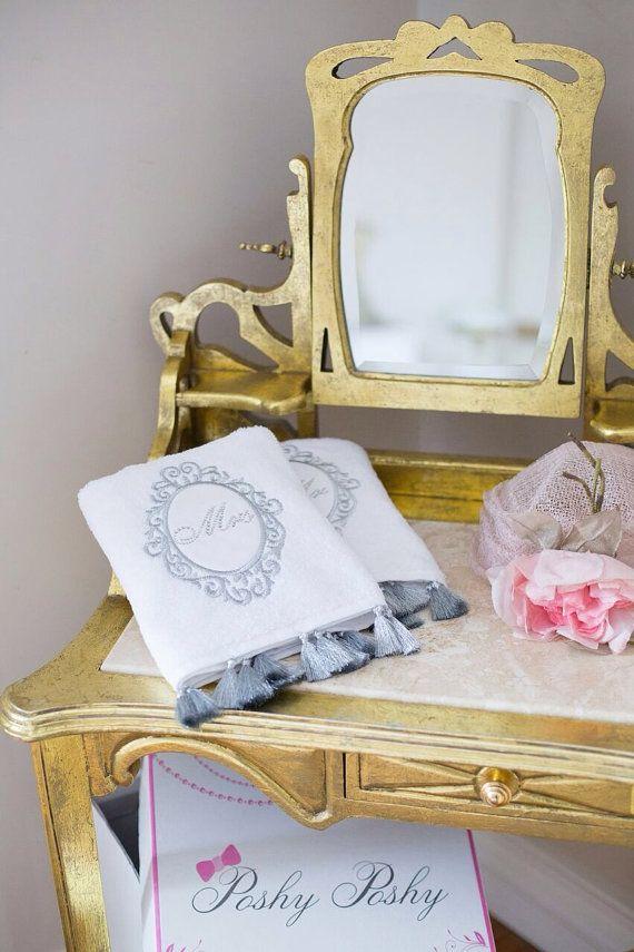 Swarovski detailed mr & mrs high quality towel set by LAMEDORE