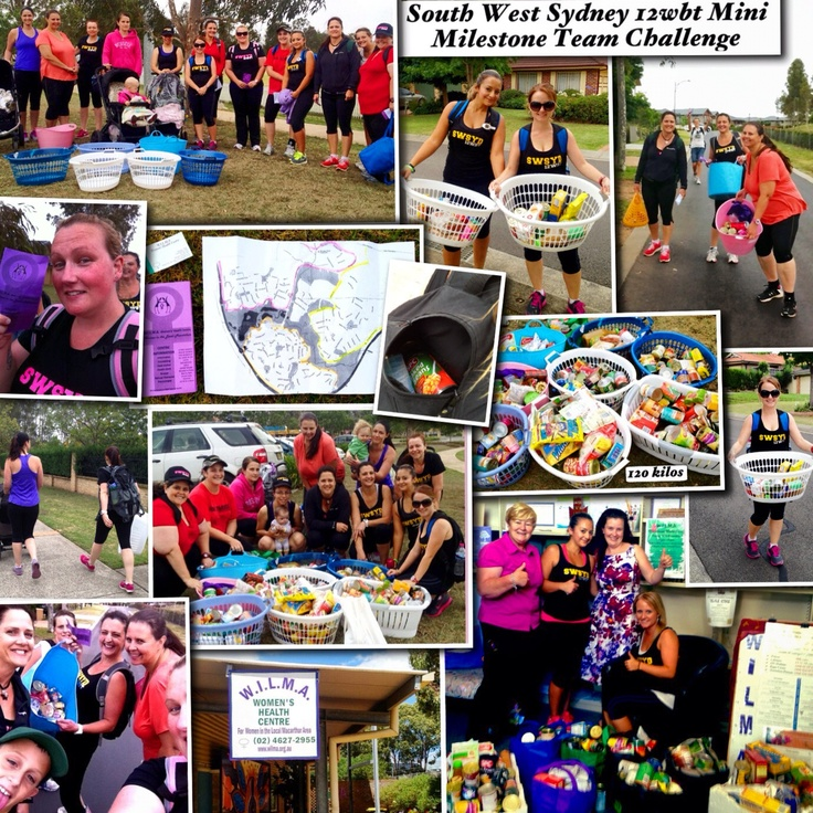 South West Sydney's 12WBT Mini Milestone Challenge! We collected food donations by door knocking for our local woman's health centre W.I.L.M.A we carried what we have lost in weight!! Awesome effort by everyone! And we won that weeks task