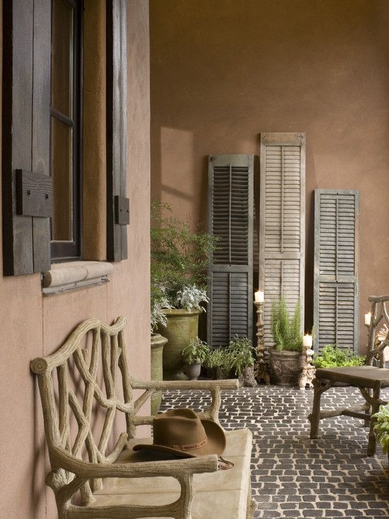 decorating with outdoor shutters: Old Shutters, Decor Ideas, Fake Wood, Window Shades, French Country, Old Window, Patio, Traditional Porches, Front Porches