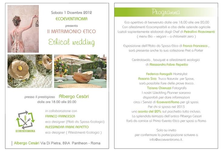 """Albergo Cesàri Roma :  """" Matrimonio Etico  """" Ethical wedding """"   Dicembre 2012  Alessandra Fabre Repetto www.alessandrafabre.com"""