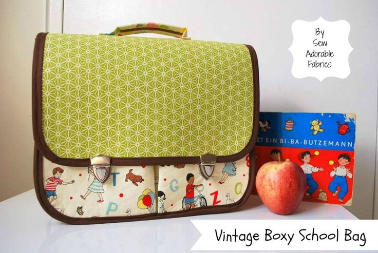 Riley Blake Designs -- Cutting Corners: Vintage-Inspired Boxy School Bag tutorial with free pattern