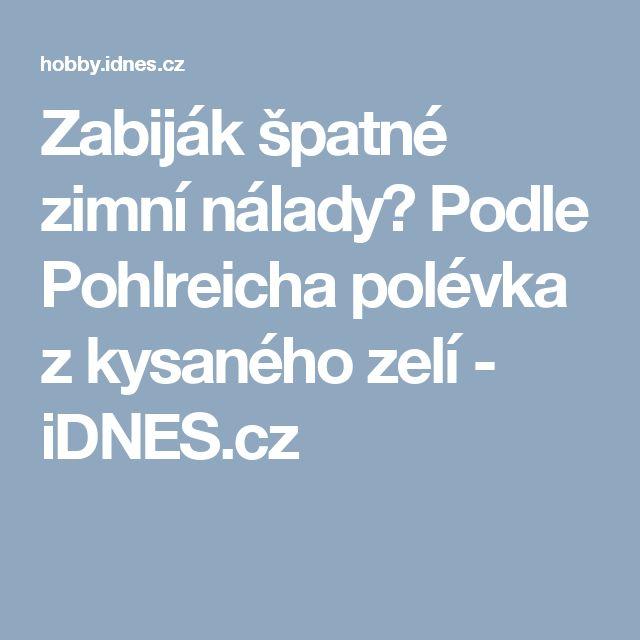 Zabiják špatné zimní nálady? Podle Pohlreicha polévka z kysaného zelí - iDNES.cz