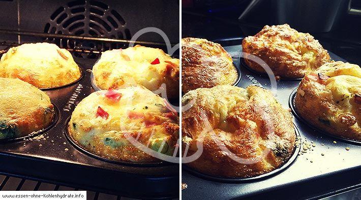 Low Carb Rezept für leckere gefüllte Eiermuffins. Wenig Kohlenhydrate und einfach zum Nachkochen. Super für Diät/zum Abnehmen.