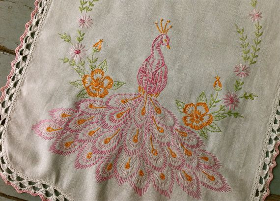Vintage Pink Peacock Embroidered Scarf by perfectmomentpillows