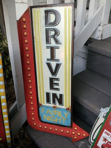 "Large ""Drive in Movie"" Sign for Home Theatre Man Cave 26"" Vintage Look Popcorn 