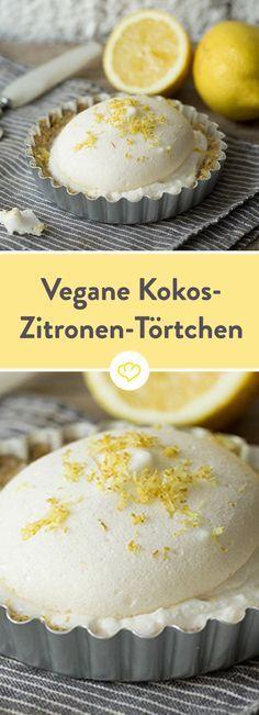 Diese himmlischen Kokos-Zitronen-Törtchen machen Lust auf Sommer. Dabei kommen sie ganz ohne Eier und Kuhmilch aus!