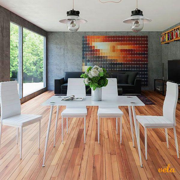 Bonito, elegante y decorativo conjunto de mesa de cristal y 4 sillas a un precio increíble. Echa un vistazo