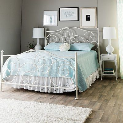 White Metal Bed Frame Victorian Vintage Antique Bedroom Furniture Wrought Iron