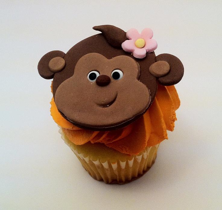 Jungle Monkey Cupcake toppers monkey girl cupcake by craftyrosy