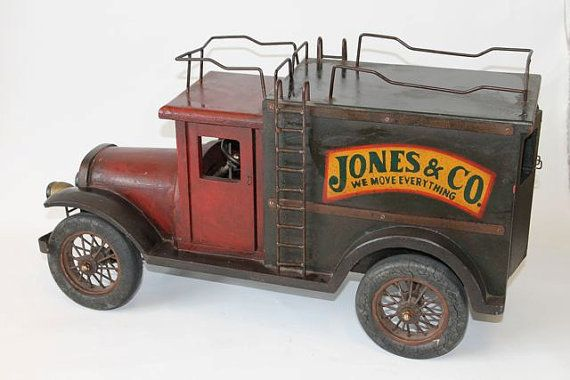 Jones & Co. Wooden Delivery Vintage Toy Truck Mostly woden ecept for stell roof racks and ladder    LARGE    24X14X10 or 60x30x20cm    A SUPERB