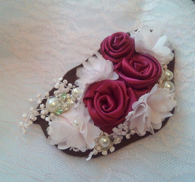 Corsage Wedding Brooch-Ribbon Rose-Wedding Corsage-Mother Of The Bride-Diamante  £12.95