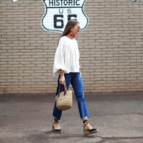 Pin for Later: How to Live Out the Rest of the Summer in Your Favorite Wardrobe Staples  A boho top and boyfriend jeans.