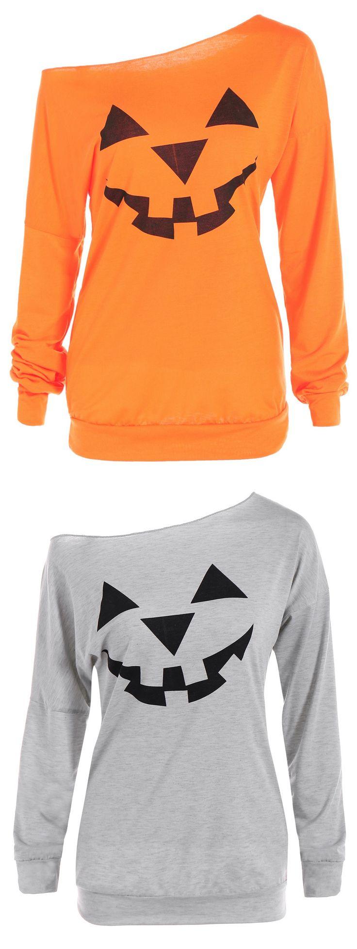 Happy Halloween | Only $5.72| One Shoulder Pumpkin Pattern Halloween Sweatshirt - Yellow Orange |  Sammydress.com
