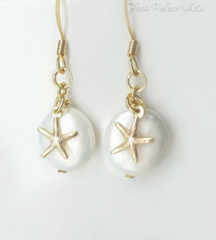 Freshwater Pearl & Starfish Earrings - Tiny Starfish Dangle Earrings