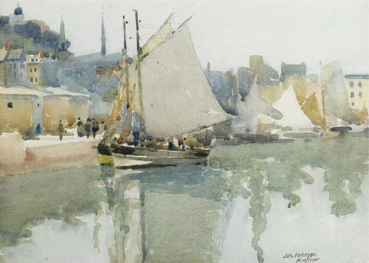 James Paterson (1854 — 1932, UK) The Harbour, Honfleur. watercolour. 23.5 x 33.5 cm. (9¼ x 13¼ in.)