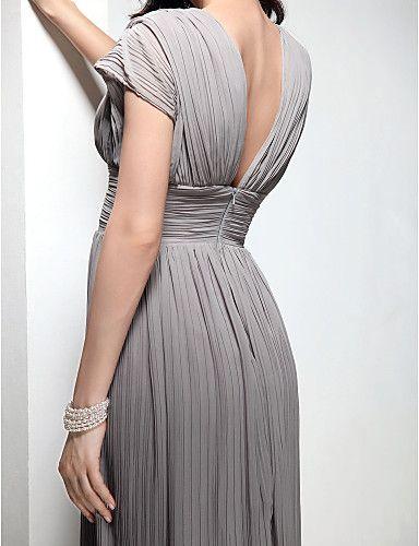Vestido de Noite em Chifon com Cauda Sweep e Decote em V (Inspirado em Mila Kunis) -
