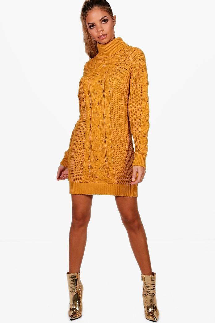 ec62601f7e19b Alicia Roll Neck Cable Knit Dress   A dress   Cable Knit, Dresses ...