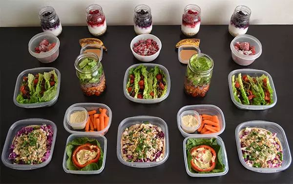 No-Cook Meal Prep for the 1,200–1,500 Calorie Level | has some good recipes and ideas.